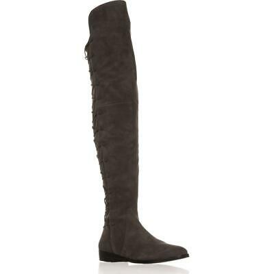 db1c4783b3e VINCE CAMUTO COATIA Over The Knee Button Flat Boot Gray Stone Suede ...