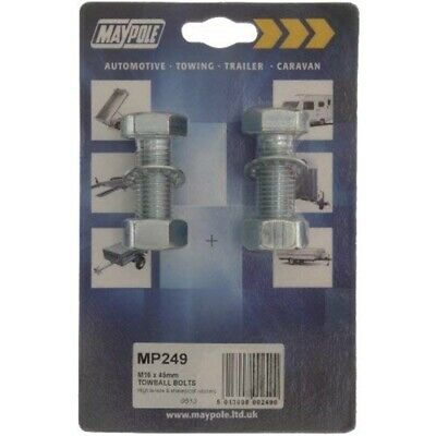Maypole Mp249 Tow Ball Bolts M16 x 45mm - Chrome - Nuts