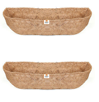 Twin Pack 75cm Window Box Liners - Wall Trough Liners - Wall Basket Liner- Coco
