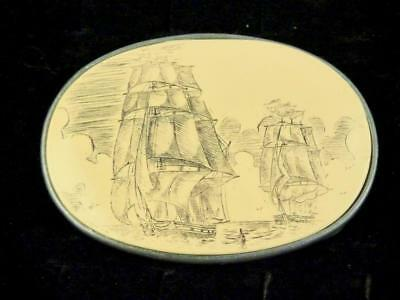 Silvertone Faux Scrimshaw Etched Galleon Spanish Ship Belt Buckle