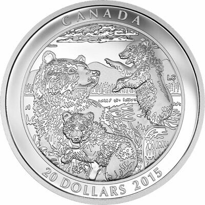 "2015 Rcm ""Grizzly Bear-Family"" $20 Fine Silver Coin"