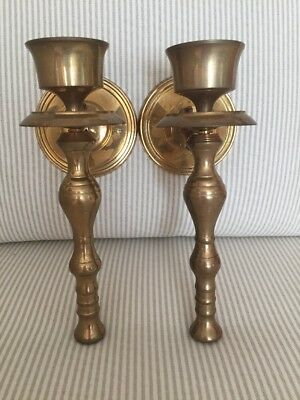 Vintage Brass Wall Sconces Candle Holders Pair
