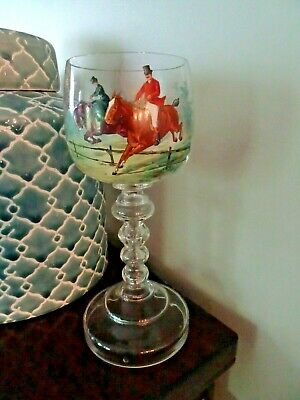 Antique Continental Bohemian Enameled Painted HORSE RACING GOBLET Beehive Stem