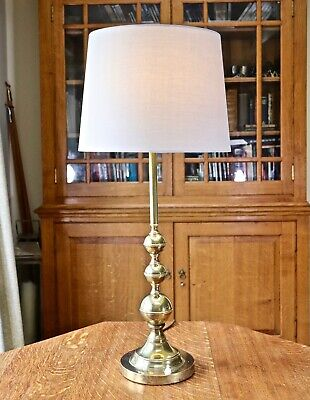 Tall elegant antique solid brass table lamp - new shade