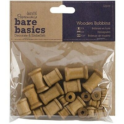 Papermania Bare Basics Wooden Shapes 22/pkg-natural Bobbins (thread Spools) -