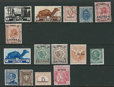 ERITREA 1892-1932 eritrea 15 different stamps (6 USED 9 MINT) F/VF