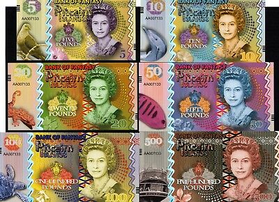 Pitcairn Islands 5;10;20;50;100; /& 500 Pounds QEII Fantasy Notes Set ND 2018