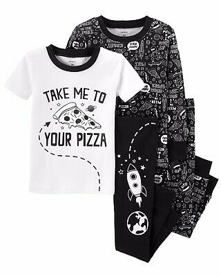 Carters Toddler Boys 4 Piece PJs Pajamas Set 4pc Pizza Space Glow In The Dark 4T