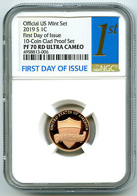 2019 S Lincoln Penny Ngc Pf70 Rd Ucam First Day Of Issue Proof Cent Fdi