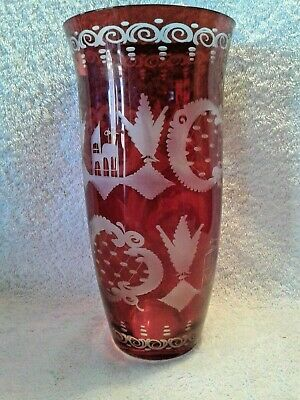 """Beautiful Ruby Cut to Clear Czech Bohemian Tall Glass Vase with Stag 10"""" Tall"""