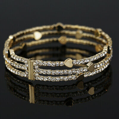 Multi-layer Rhinestone Heart Cuffs Women's Bangle Wedding Bracelet Jewelry Gift