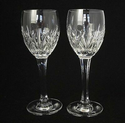 Pair of Edinburgh Glass Crystal Wine Glasses Fully Marked (faceted stem)
