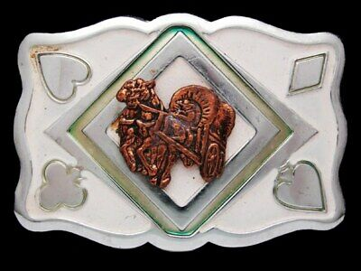 IL07157 VINTAGE 1970s **COVERED WAGON** PLAYING CARD SUITES MOTIF BELT BUCKLE
