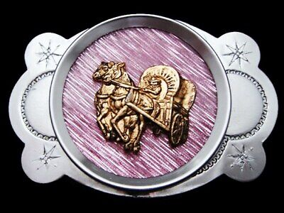 KK17161 VINTAGE 1970s **COVERED WAGON** SILVERTONE WESTERN STYLE BELT BUCKLE