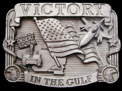 IL29150 VINTAGE 1990s **VICTORY IN THE GULF** DESERT STORM PEWTER BELT BUCKLE