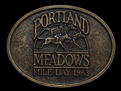 Nc07112 Vintage 1983 **Portland Meadows Mile Day** Horse Racing Sports Buckle