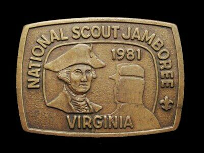 Il13138 Vintage 1981 **National Scout Jamboree Virginia** Boy Scouts Belt Buckle