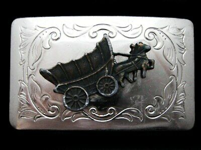 KK21151 VINTAGE 1970s WESTERN STYLE **COVERED WAGON** SILVERTONE BELT BUCKLE