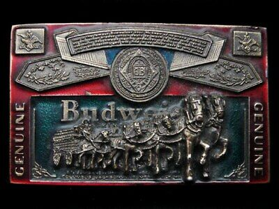 Kk09157 Vintage 1982 ***Genuine Budweiser*** (Clydesdales) Beer Belt Buckle