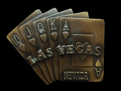 NE01159 *NOS* VINTAGE 1970s *LAS VEGAS NEVADA ROYAL FLUSH* GAMBLING BELT BUCKLE