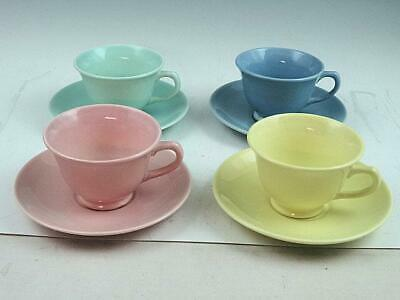 4 Taylor Smith Taylor Luray Cups & Saucers Blue Pink Yellow Green Pastel