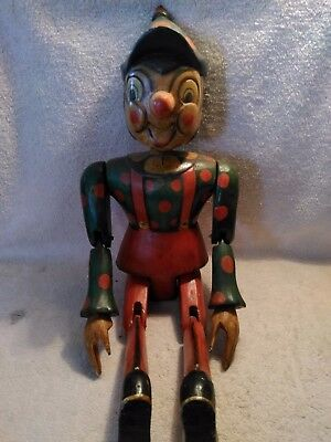 "Folk Art Jointed Wooden Shelf Sitter Clown, Pinnochio Carved 22"" tall Polk-a-dot"