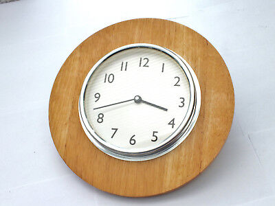Vintage    QUARTZ  WALL  CLOCK  on  wooden base