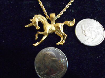 bling gold plated unicorn fantasy myth legend pendant charm necklace gp jewelry