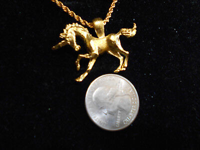 bling gold plated unicorn myth celtic legend stonehenge pendant charm necklace