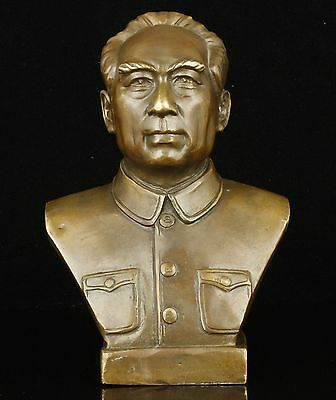 China Collectible Hand Casting Bronze Diplomatist Premier Zhou Enlai Statue