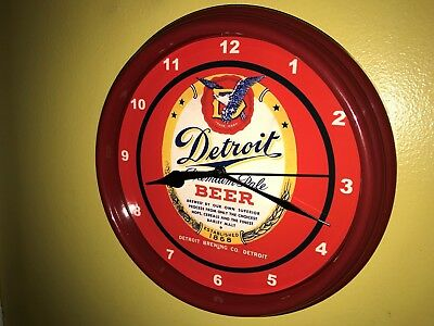 Detroit Pale Lager Michigan Beer Bar Advertising Man Cave Red Wall Clock Sign
