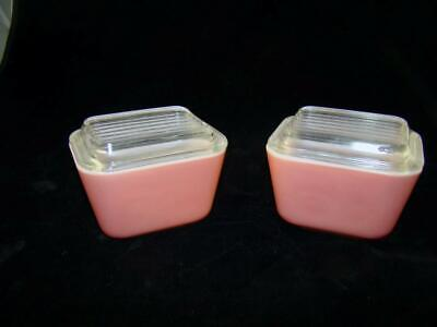 2 Pyrex Pink Refrigerator Dishes w/ Lids 1 1/2 Cup #501