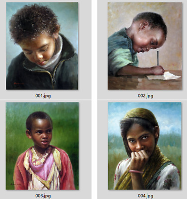 Art prints on cotton canvas singed portrait of Indian kids series young boy&girl