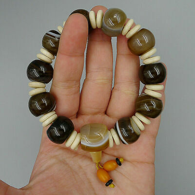 Bracelets Bangle Jewelry Crafts Handmade DIY Charm Bead Natural Matte Agate Onyx
