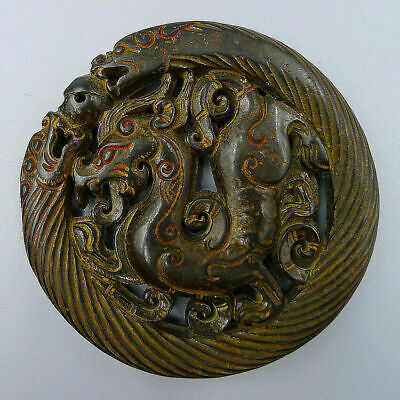 Natural Old Jade Plate Jadeite Amulet Pendants Statue Hand Carved Loong Dragon