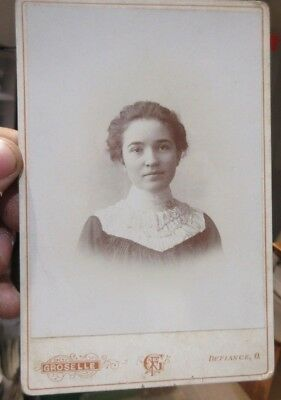 1880s Antique Old Cabinet Photo Picture Defiance Ohio SHANABARGER Woman Lady IDd