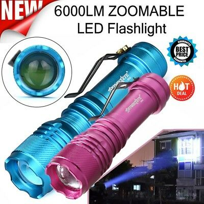 Mini 6000LM CREE Q5 AA/14500 Zoomable LED Flashlight Torch Lamp Super Bright