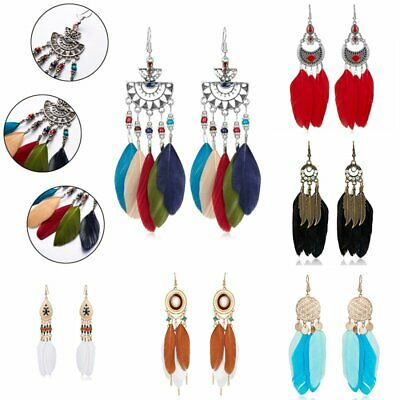 BOHO Tassels Women Jewelry Handmade Earrings Leaf Feather Dangle Eardrop Hook