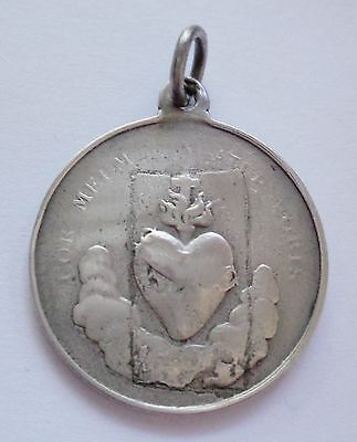 Rare Old Religious Solid Silver Medal Sacred Heart Of Jesus Dated 1893