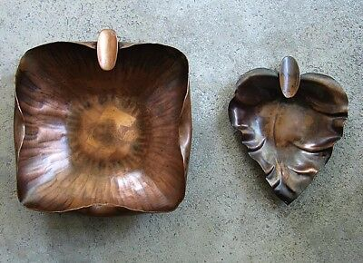 Two Vintage Arts & Crafts Copper Ashtrays ~ Craftsman