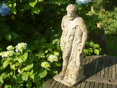 Superb Vintage Hercules Cast Stone Garden Statue Nicely Well Weathered 60cm Tall