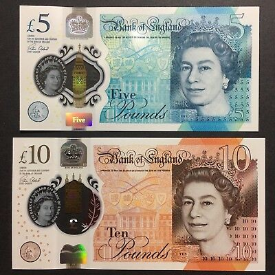 Set 2016/2017 Great Britain Uk 5 10 Pounds Polymer P-394 395 Unc > Queen E Ii