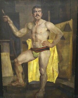 Large Early 1900 English School Nude Male Model Portrait Jockstrap Antique