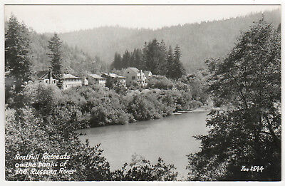 RUSSIAN RIVER Restful Retreats CALIFORNIA RPPC Real Photo Postcard ZAN STARK