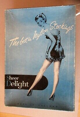 2 Pairs Vintage Sheer Delight Size 9 1/2 Chiffon Nylon Stockings In Original Box
