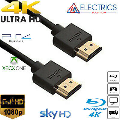 Sony Playstation PS4 PS3 4K Blk HDMI Cable 0.5m 1m 1.5m 2m 2.5m 3m 4m 5m 10m UK