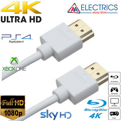 Sony Playstation PS4 PS3 4K THIN Wht HDMI Cable 0.5m 1m 1.5m 2m 2.5m 3m 5m UK