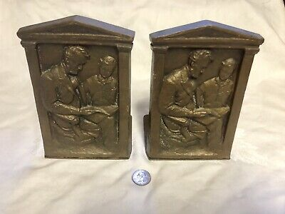 Antique Bronze Bookends Abe Lincoln Reading To Boy Decorative Arts League NYC