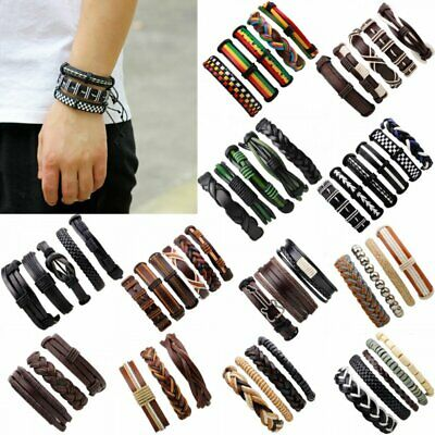 3/4/5/6pcs Men's Punk Leather Wrap Braided Wristband Cuff Punk Bracelet Bangle