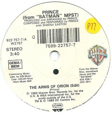 """Prince With Sheena Easton – The Arms Of Orion  Orig 1989 7"""" Vinyl 45rpm"""